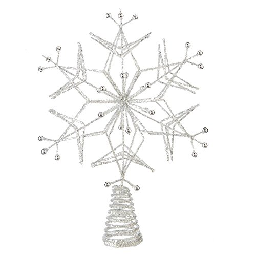 Glittered Silver Snowflake Treetop Decoration - Christmas Tree Topper Holiday Ornament (White Metal Snowflakes)