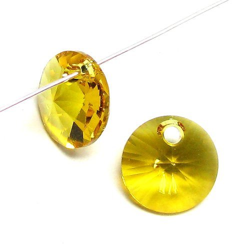 (24 pcs Swarovski Crystal 6428 Xilion Rivoli Pendant Charm Sunflower 6mm / Findings / Crystallized Element )