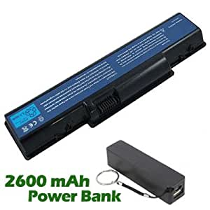 Battpit Bateria de repuesto para portátiles Gateway NV5613u (4400 mah) con 2600mAh Banco de energía / batería externa (negro) para Smartphone