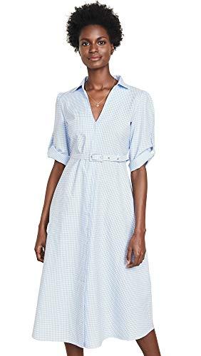 Kos Resort Women's Shirt Cover Up Dress, Gingham, Blue, Plaid, Large