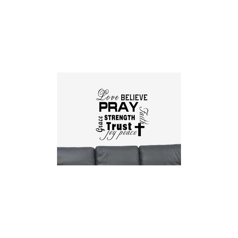Love Believe Pray Strength Trust Faith Vinyl Wall Art Decal Sticker Home Decor