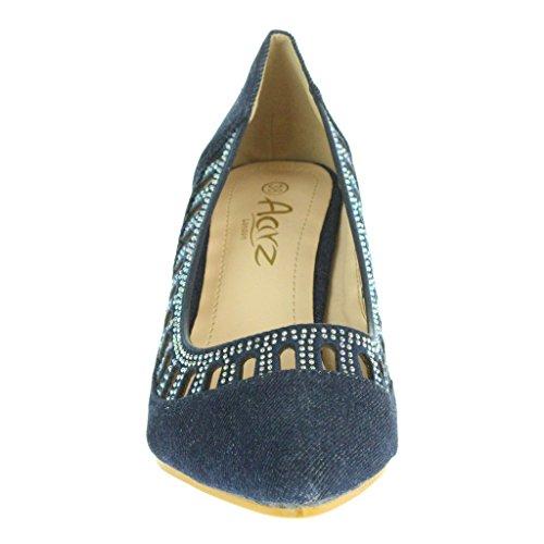 Mujer Señoras Puntiagudo Cristal de ajuste Acento Noche Fiesta Boda Nupcial Paseo Casual Bajo Tacón de gatito Sandalias Zapatos Talla Azul