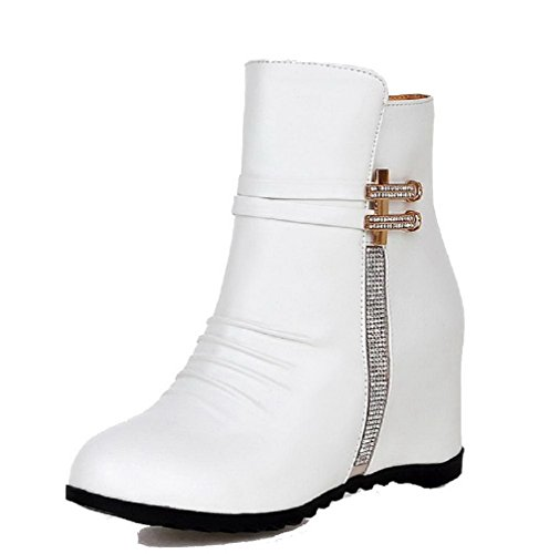 Toe White PU Heels AgooLar Boots Zipper Solid Round Women's Closed High S7Sw8vx