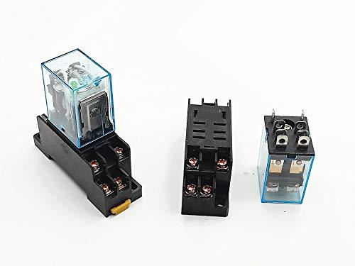 BLS 2PCS DC 12V Coil 8Pin DPDT Electromagnetic Power Relay w Socket Base