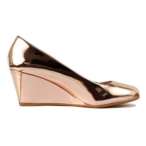 Heart Wedge Rosegold Heel Walking Soft Comfortable Mid Round Pumps Dress Pat Low Toe Classic Guilty Office dxgA1Idq