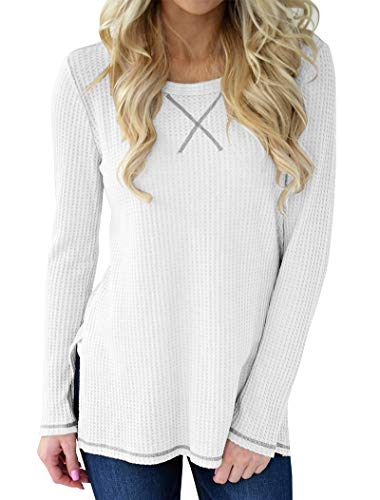 Waffle Crew Shirt - Minthunter Women's Long Sleeve Blouse Crew Neck Knit Thermal Top Cute Tunic