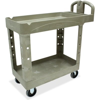 Heavy-Duty Utility Cart, 2-Shelf, 17-7/8w x 39-1/4d x 33-1/4h, Beige - 450088BG
