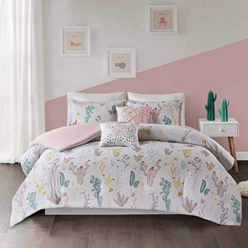 LV 4 Piece Girls White Pink Cactus Themed Duvet Cover Twin XL Set, Love Cacti Bedding Cactaceae Succulent Plant Desert Outback Preppy Chic Polka Dot Pattern, Pastel Yellow Green, Cotton