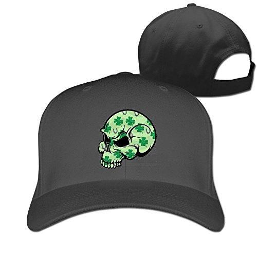 (DMN Unisex Irish Shamrock Skull Baseball Hip-hop Cap Vintage Adjustable Hats for Women and Men Black,One Size)