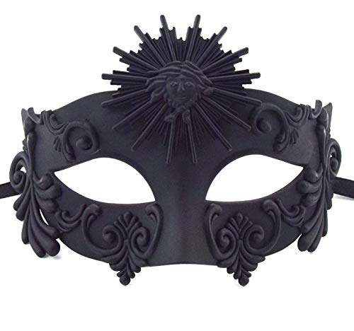 KEFAN Greek Roman Masquerade Mask Halloween Mask Venetian Mardi Gras Mask for Men (Black 01)]()