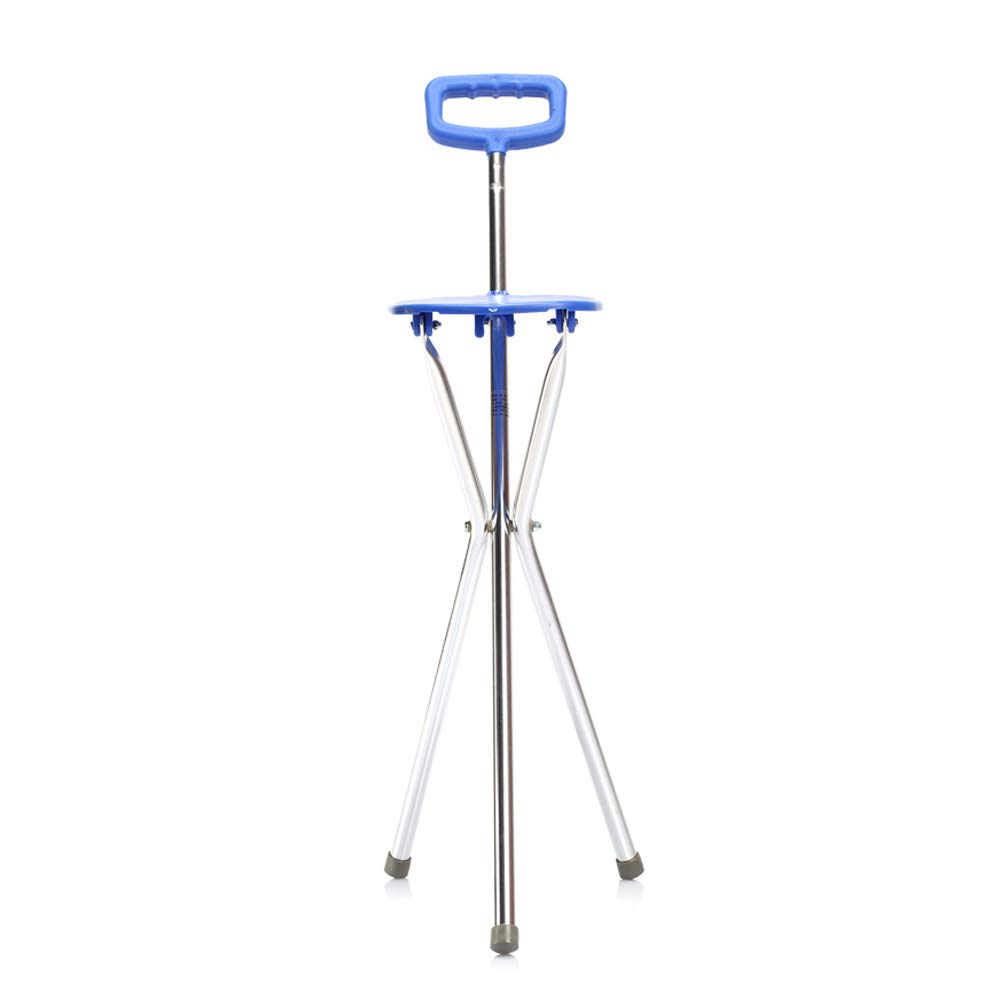 Walker, Aluminum Alloy Non-Slip Cane, Foldable Three-Legged Cane Chair, Elderly Disabled Rehabilitation Training Walker Assisted Walking by HN Walker