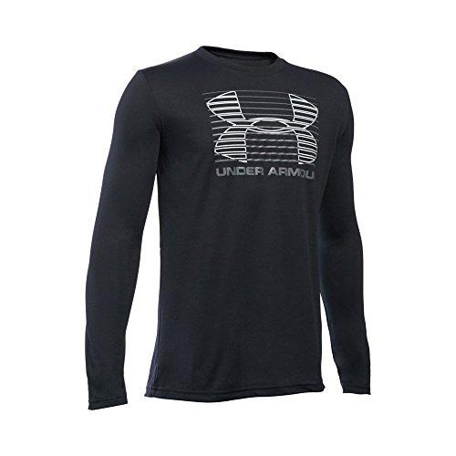 Under Armour Boys' Breakthrough Logo Long Sleeve T-Shirt, Black/Graphite, Youth Small