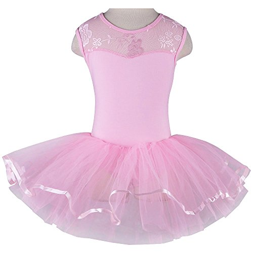 TFJH Kids Little Girls' Ballet Flower Lace Sleeveless Dress Leotard Tutus Pink 6-7 Years