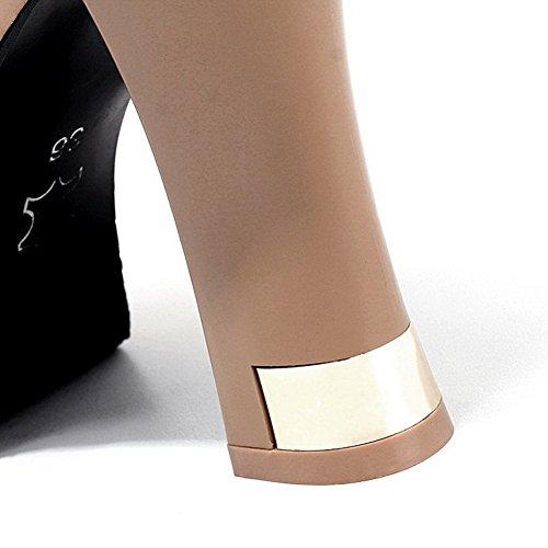 mit BalaMasa Einzigartige Metallschnallen Bandage Girls Strassbesatz Strasssteine Gelb Plattformimitierte Lederstiefel POnOFq1v