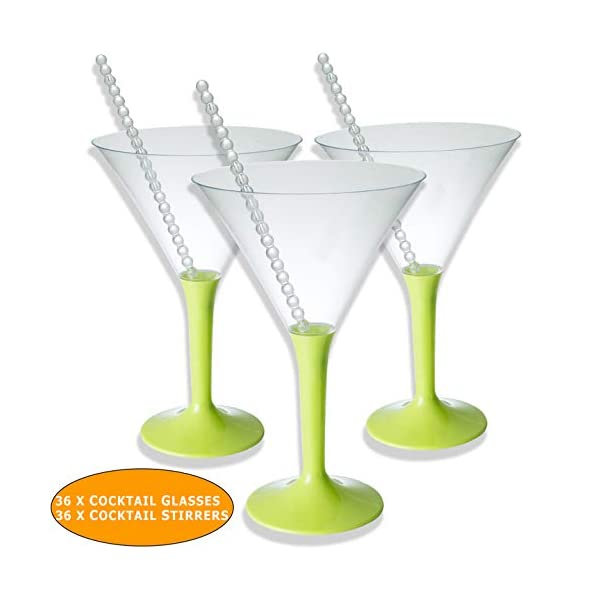 BlueRiver Cocktail Dresses 36 x bicchieri da cocktail Martini in plastica con regalo | Senza BPA, robusto ed elegante 2 spesavip