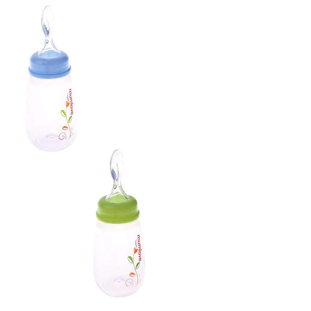 Prettyia Dispensing Cereal with Squirt Bottle Feeding Rice Food Baby Spoon