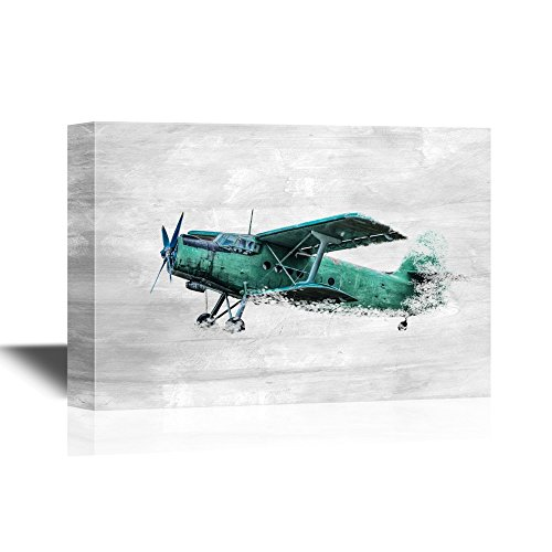 - wall26 - Canvas Wall Art - Old Airplane on White Background - Gallery Wrap Modern Home Decor | Ready to Hang - 12x18 inches