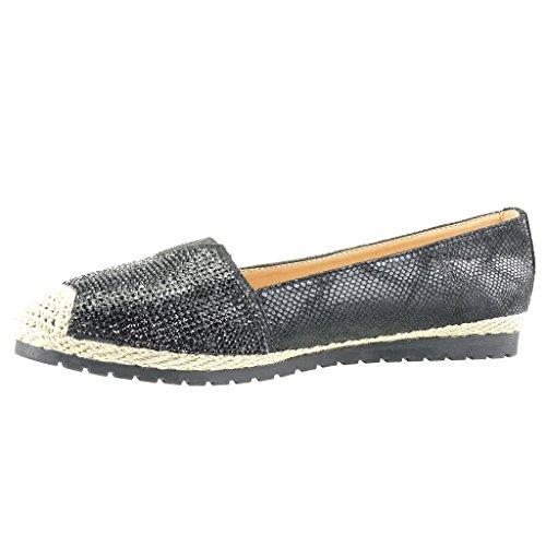 Angkorly Women's Fashion Shoes Espadrilles Mocassins - Slip-on - Sneaker Sole - Snakeskin - Rhinestone - Cord Flat Heel 0 cm Black 9CLPorzLGC