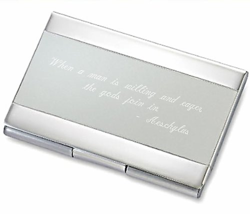Engraved Card (Personalized Silver & Satin Business Card Case Holder Engraved Free)