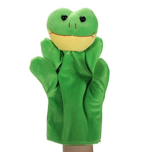 Hand Puppet Frog (Cartoon Frog Hand Puppets Velvet Kids Children Story Time Playtime Educational Family Game Dolls Cloth Finger Puppets by SamGreatWorld)