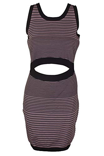 GUESS Purple Sleeveless Texture Striped Vivianne Cutout Sweater Dress L
