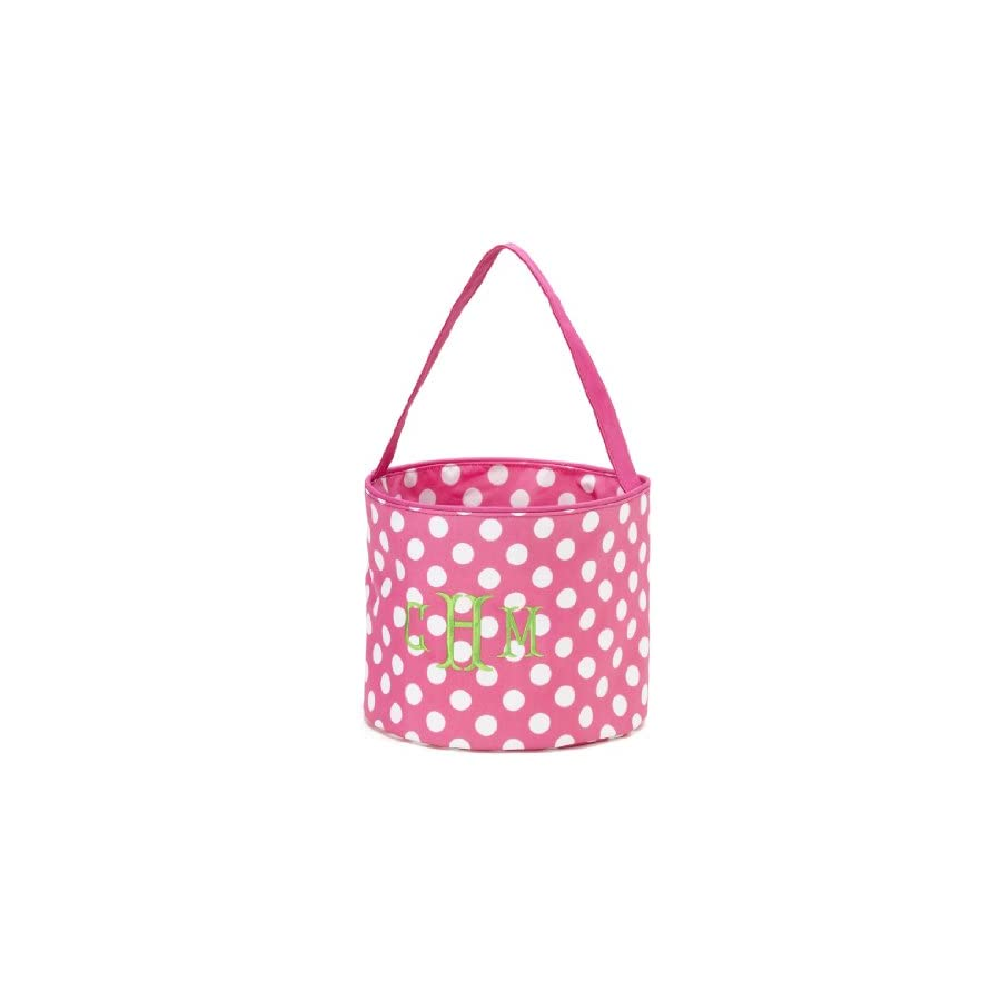 Personalized Childrens Fabric Bucket Tote Bag Toys Easter (Specialty Monogrammed Pink Dot)
