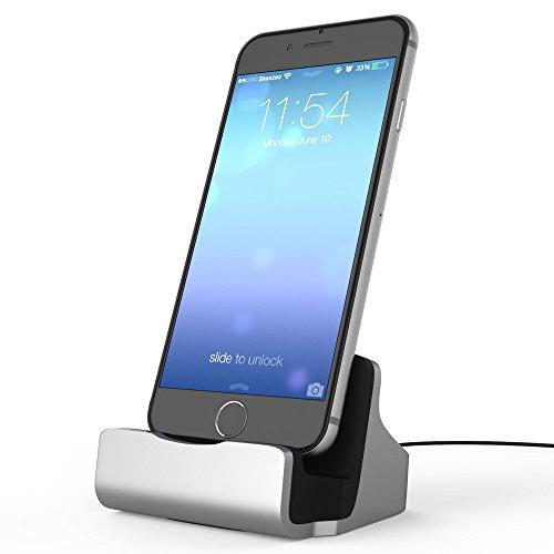 shenzoo® Dockingstation Ladestation Dock für iPhone 6 6S SE in silber