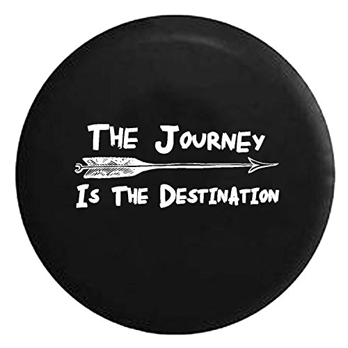 The Journey is the Destination Arrow Travel Freedom Spare Jeep Wrangler Camper SUV Tire Cover White Ink 27.5 in