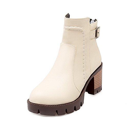 Boots Kitten Heels top Beige Low Toe Round Women's Allhqfashion Solid Closed Zipper v4fwP8q