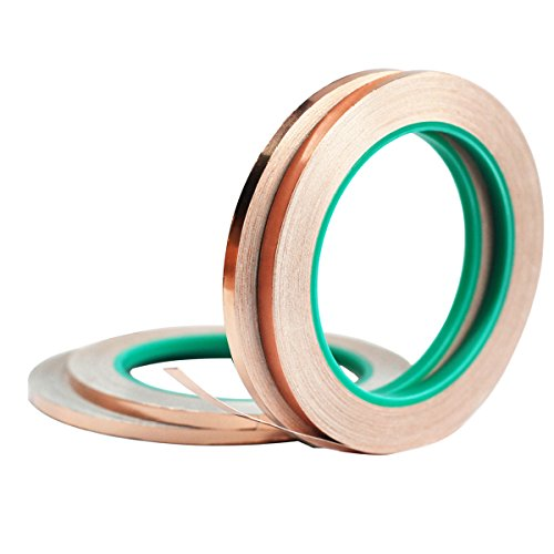 Copper Foil Tape,4Pcs DIKOO Double-Sided Conductive Adhesive (1/4inch X 21.8yards) for EMI Shielding,Slug Repellent,Electrical Repairs,Stained Glass,Art Work,Soldering,Grounding Paper Circuits,Crafts by DIKOO