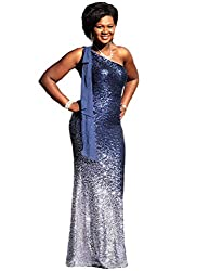 Silver & Navy Blue One Shoulder Ombre Sequins Mermaid Dress
