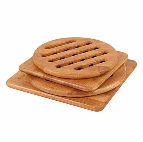 Coasters Nature Bamboo Placemat, Kitchen Table Protect Insulation Mat, Easy to Clean, Durable Table Mat Pack of 4