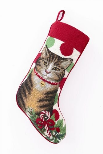 Gray & Brown Tabby Cat / Kitten with Candy Cane Christmas Stocking, Wool Needlepoint, 11 Inch X 18 Inch