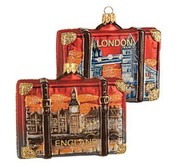 England London Suitcase Big Ben Tower Bridge Polish Glass Christmas Ornament Travel Souvenir (Suitcase Ornament)