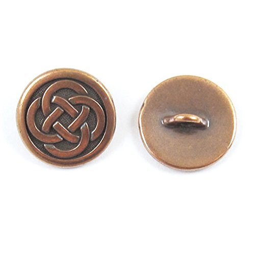 TierraCast Pewter Buttons-COPPER CELTIC KNOT (Pewter Findings Antique Copper Plate)