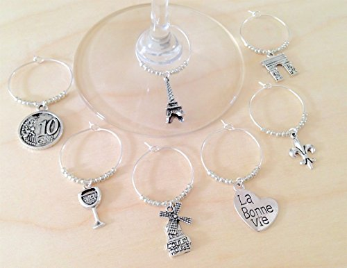 Paris France Wine Charms: Includes Eiffel Tower, Arc de Triomphe, Moulin Rouge, La Bonne Vie Heart, Fleur de Lis, and Wine Glass. Set of 7. SILVER BEADS - Paris Wine Glass