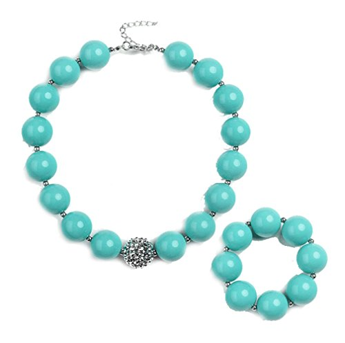Bubblegum Costume Diy (Handcraft green chunky bubblegum beads Turquoise necklace and bracelet set gift for kids girls women)