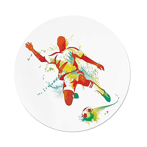 (iPrint Polyester Round Tablecloth,Sports Decor,Soccer Player Kicks the Ball Competitions Paint Splashes Speed Boots Art,Dining Room Kitchen Picnic Table Cloth Cover,for Outdoor Indoor)