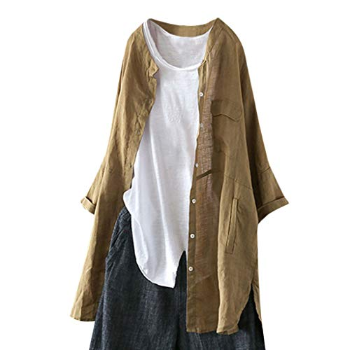 Women O-Neck Blouse Button Pocket Shirts Long Batwing Sleeve Patchwork Tops