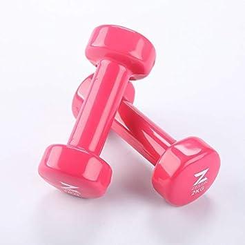 Gemeinsa Mancuernas de Hierro Fundido con Revestimiento de Vinilo para Entrenamiento Muscular Fitness Musculación Juego de 2 PCS (Rosa 2kg): Amazon.es: ...