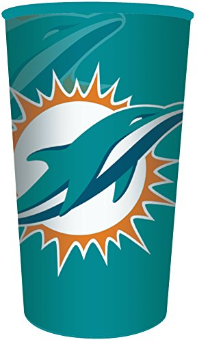 Creative Converting Officially Licensed NFL Plastic Souvenir Cups, 20-Count, 22-Ounce, Miami Dolphins