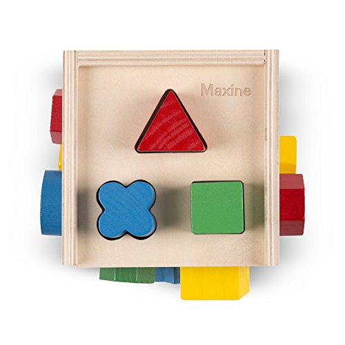 (Melissa & Doug Personalized Shape Sorting Cube Classic Wooden Toy with 12 Shapes)