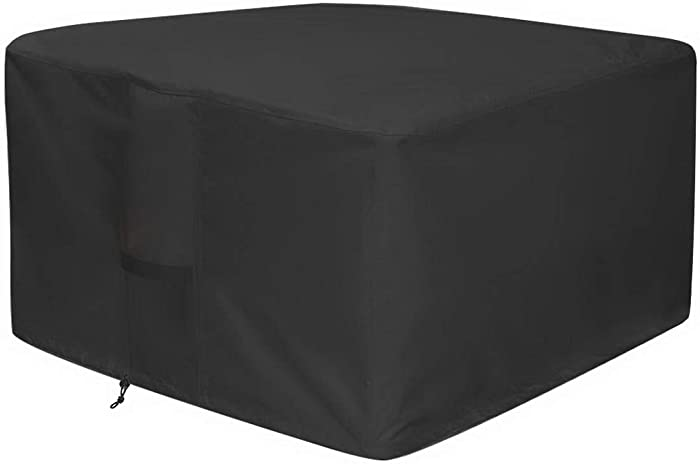 Homemari Fire Pit Patio Cover 600D Heavy Duty Furniture Cover Patio Burning BBQ Grill Cover Outdoor Anti-UV Fire Bowl Cover (32x32x24 in)