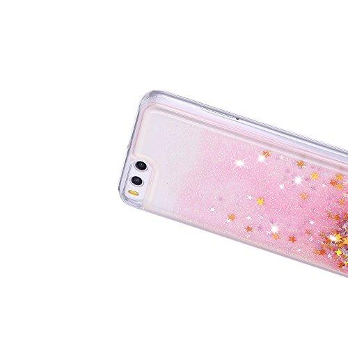 Funda Xiaomi Mi 6, Caselover 3D Bling Silicona TPU Arena Movediza Carcasa para Xiaomi 6 Glitter Líquido Brillar Lentejuelas Suave Transparente Cristal Protección Caso Anti Arañazos Tapa Choque Absorci Rosa y oro