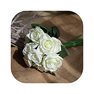 vibe-pleasure Silk Artificial Rose Flowers Bunch Mini Red Rose White Peony Wedding Bridal Home Party Decorations,Milk Green 49