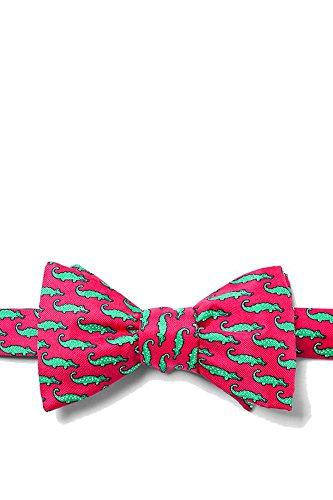 Alynn Novelty Green Silk Ties - Men's Alligators 100% Silk Pink & Green Freestyle Self Tie Bowtie Bow Tie Neckwear