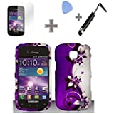 Rubberized Purple Silver Vines flower Snap on Design Case Hard Case Skin Cover Faceplate with Screen Protector, Case Opener and Stylus Pen for Samsung Illusion / Galaxy Proclaim i110 - Verizon / Straight Talk