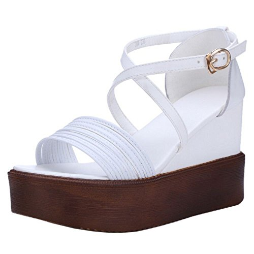 COOLCEPT Zapatos Mujer Verano Comodo Cross Out Plataforma Sandalias Blanco