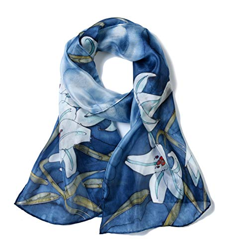 n's 100% Mulberry Silk Scarf Long Hand Painted Blue Lilly ()