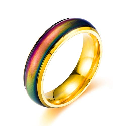 Ello Elli 6MM Comfort Fit Stainless-Steel Color Changing Mood Ring (Gold, 9.5)